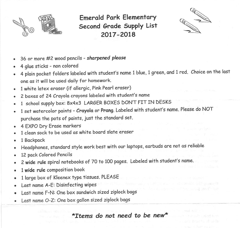 School Supply Lists For 2017 2018 Emerald Park Elementary Ptsa